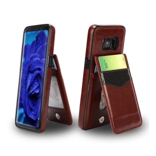 Samsung Galaxy S8 - LEMANS Läderskal med Plånbok/Kortfack Röd
