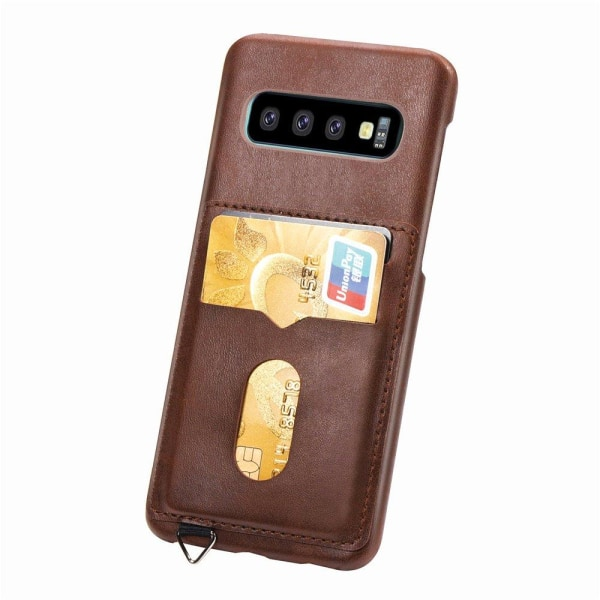 Skal med Korthållare - Samsung Galaxy S10 Plus (Vintage-Mark) Grå