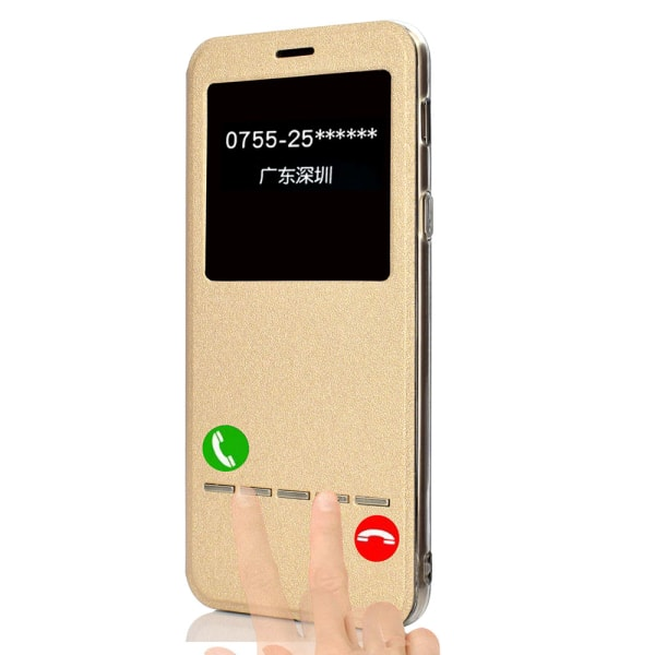 Smartfodral med Fönster & Svarsfunktion - Samsung Galaxy A6 Plus Blå