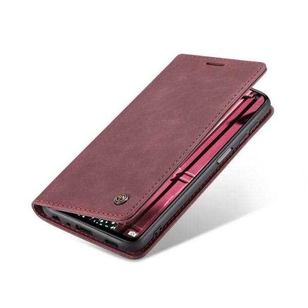 CASEME Retro Lompakkokotelo Xiaomi Redmi Note 10 4G/Note 10S - Red