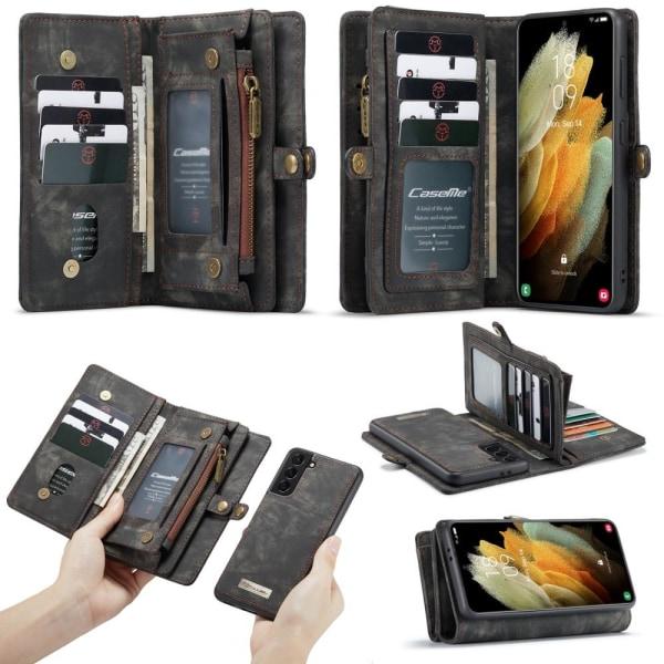 CASEME Samsung Galaxy S21+ (Plus) Retro läder plånboksfodral - G Svart
