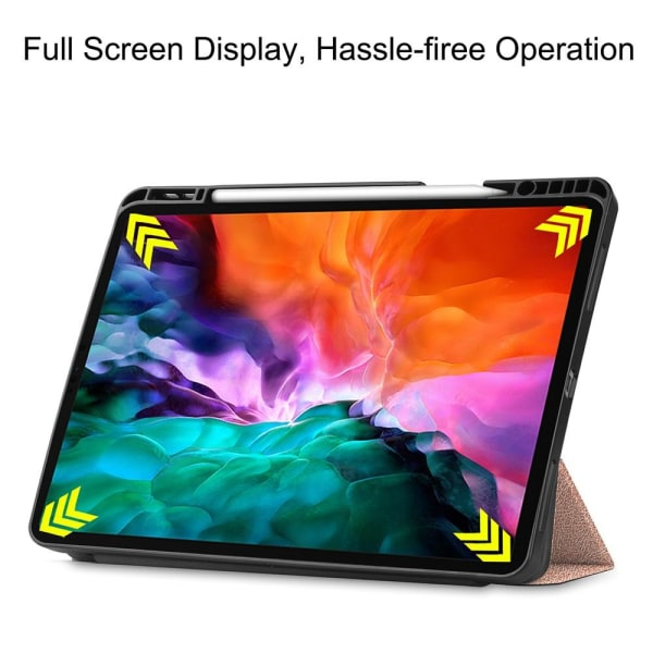 """iPad 12.9"""" Pro 2021 Tri-fold Stand Tablet Case Cover - Rose Gold Pink gold"""