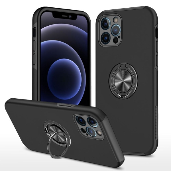 iPhone 13 Sormusrengas Kickstand -hybridikotelo - musta Black