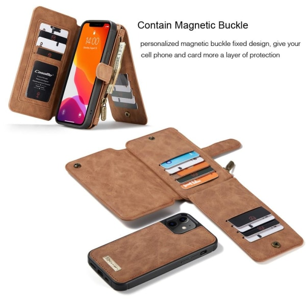 CASEME Wallet Leather Phone Case iPhone 12 Mini - Brown Brown