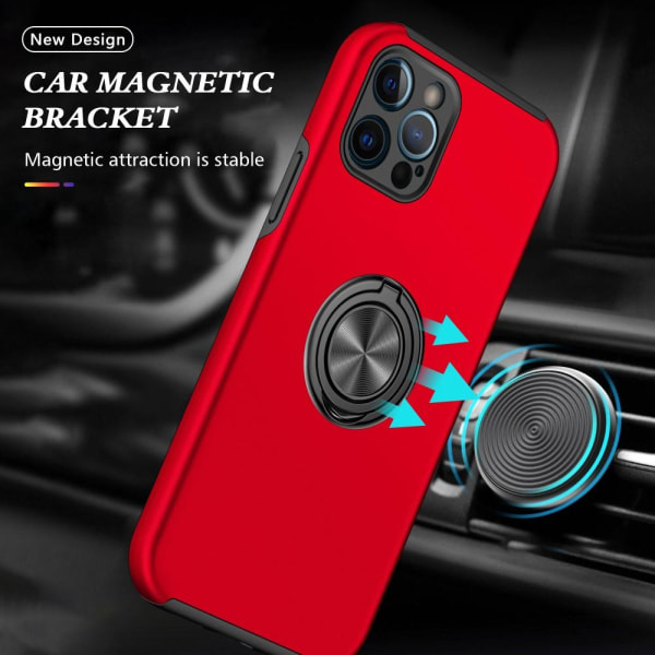 iPhone 13 Mini Finger Ring Kickstand Hybrid Case - Rød Red