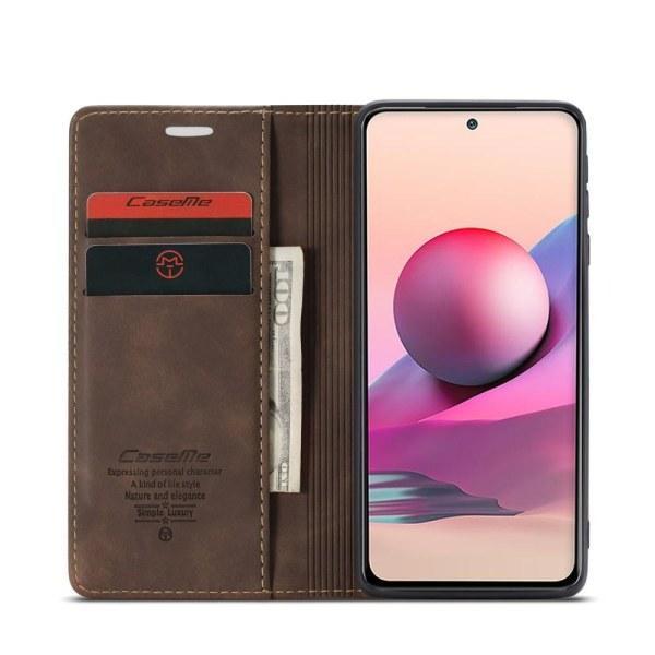 CASEME Retro Lompakkokotelo Xiaomi Redmi Note 10 4G/Note 10S - Brown