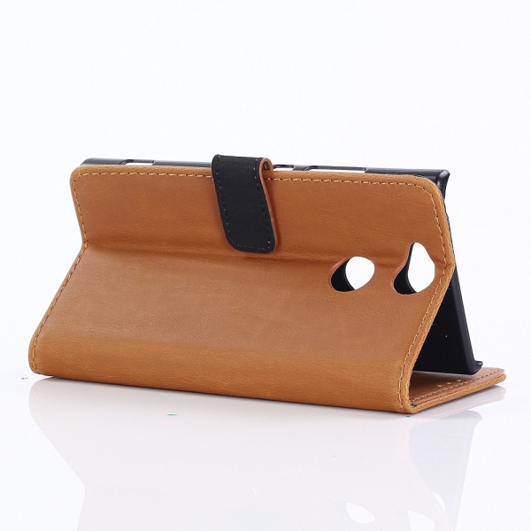 Retro Style Wallet Cover Stand for Sony Xperia XA2 - Brown Brown