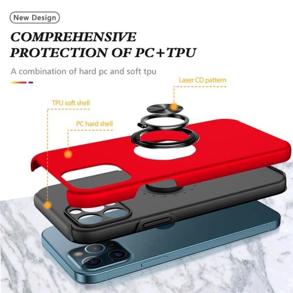 iPhone 13 Pro Max Finger Ring Kickstand -hybridikotelo - punainen Red
