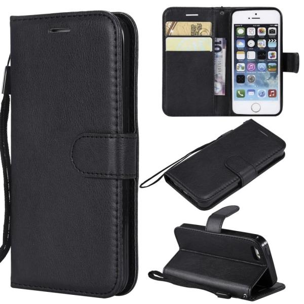 Lompakko Nahkainen Jalustakotelo iPhone SE/5s/5 - Musta Black