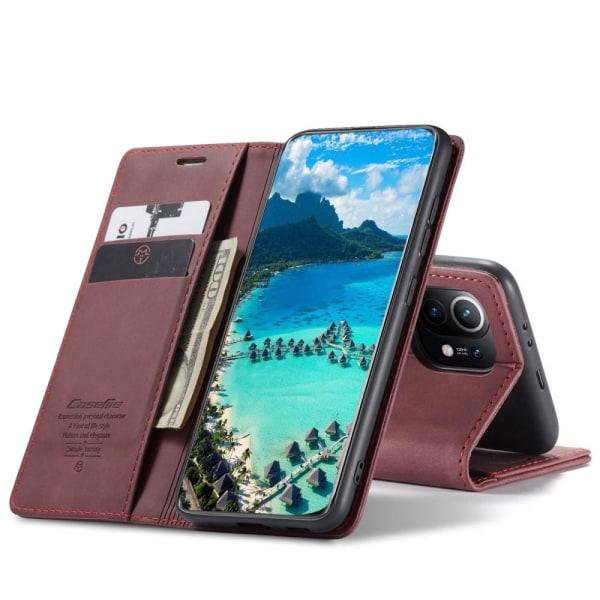 CASEME Retro Lompakkokotelo Xiaomi Mi 11: lle - Viininpunainen Red