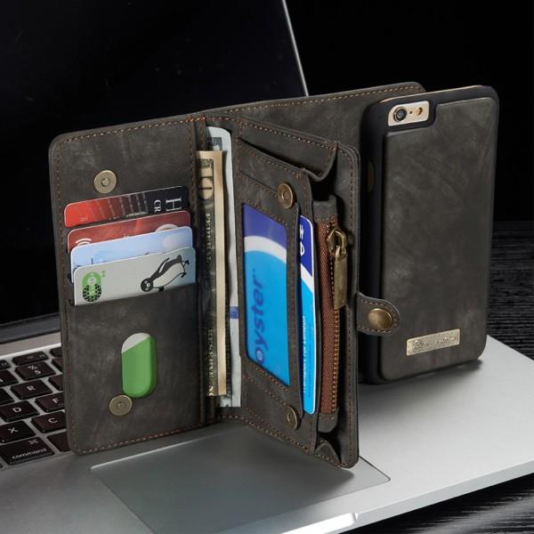 CASEME iPhone 6s 6 Retro Split Leather Wallet Case - Grå Grey
