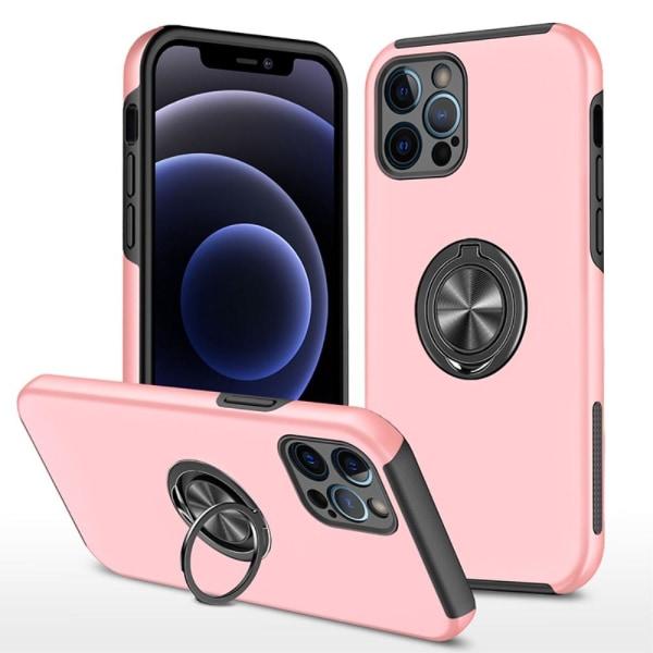 iPhone 13 Pro Finger Ring Kickstand Hybridikotelo - Ruusukulta Pink gold