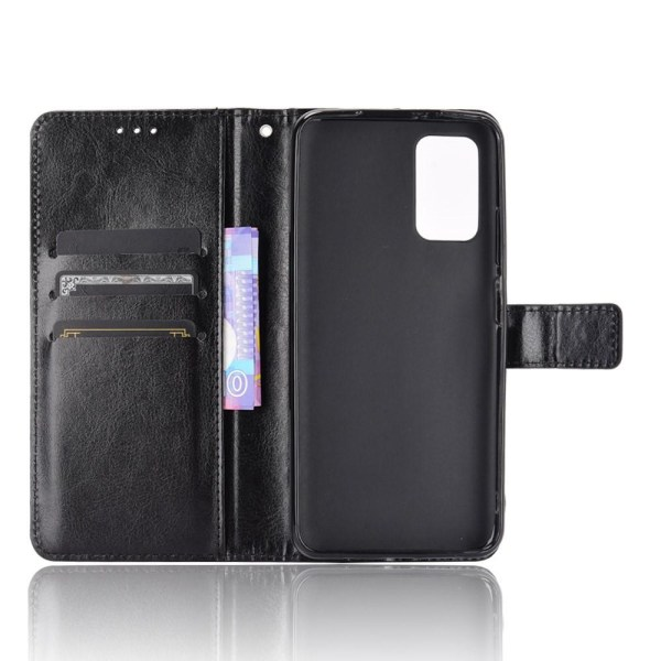 Xiaomi Redmi 9T Wallet Crazy Horse Texture Stand Shell med Stra Black
