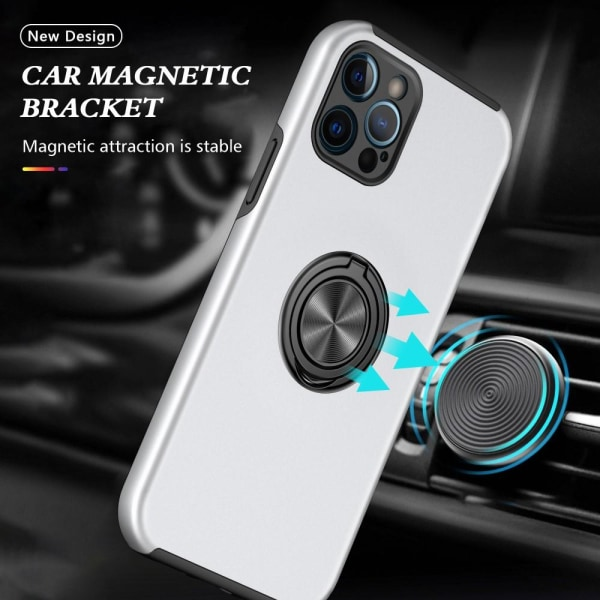 iPhone 13 Mini Finger Ring Kickstand Hybrid Case Sølv Silver