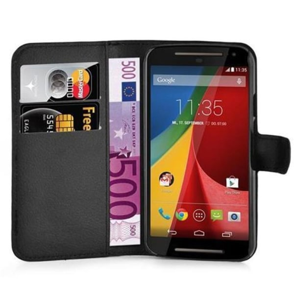 Motorola Moto G2 XT1063 Plånboksfodral SVART Svart