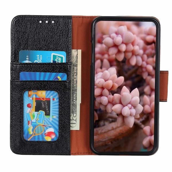 Samsung Galaxy A40 Textured Split Leather Wallet Case - Black Black