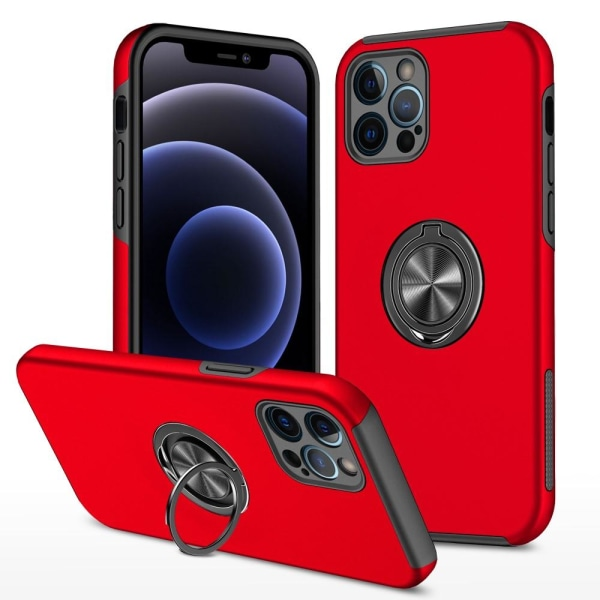 iPhone 13 Finger Ring Kickstand Hybrid Case - Rød Red