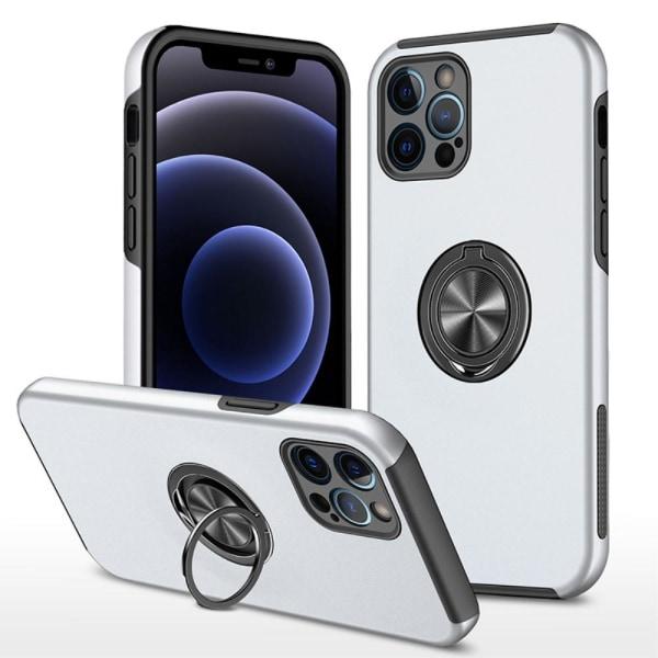 iPhone 13 Pro Max Finger Ring Kickstand Hybridikotelo - Hopea Silver