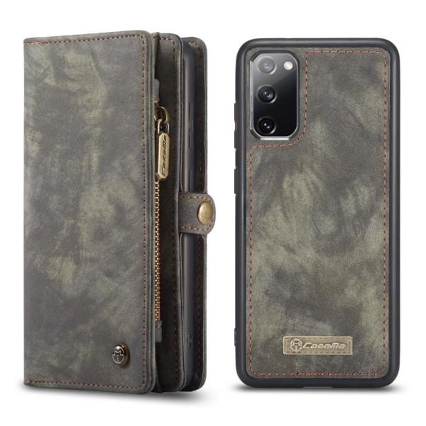 CASEME Samsung Galaxy S20 FE Retro läder plånboksfodral grå