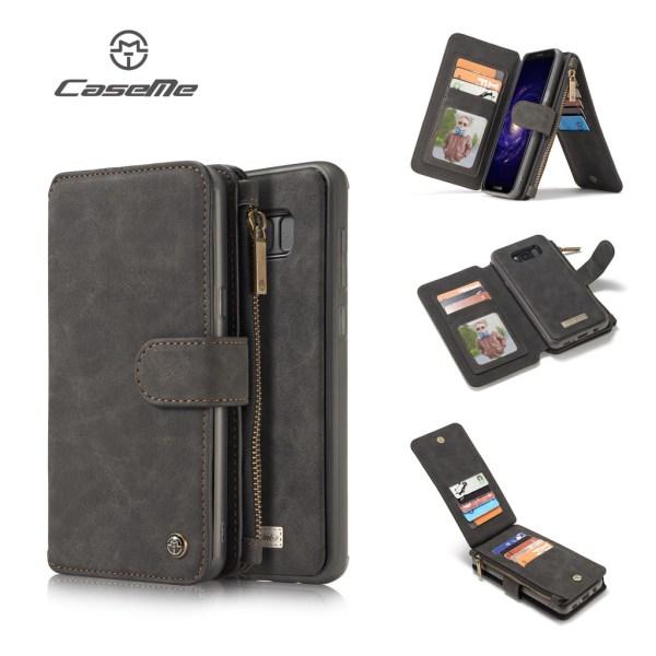 CASEME Samsung Galaxy S8 Retro läder plånboksfodral - Svart Svart