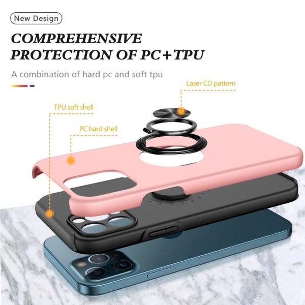 iPhone 13 Mini Finger Ring Kickstand Hybrid Case - Rose Gold Pink gold