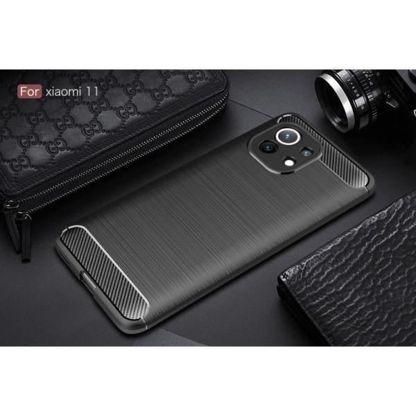 Carbon Fiber Texture TPU Cover for Xiaomi Mi 11 Black