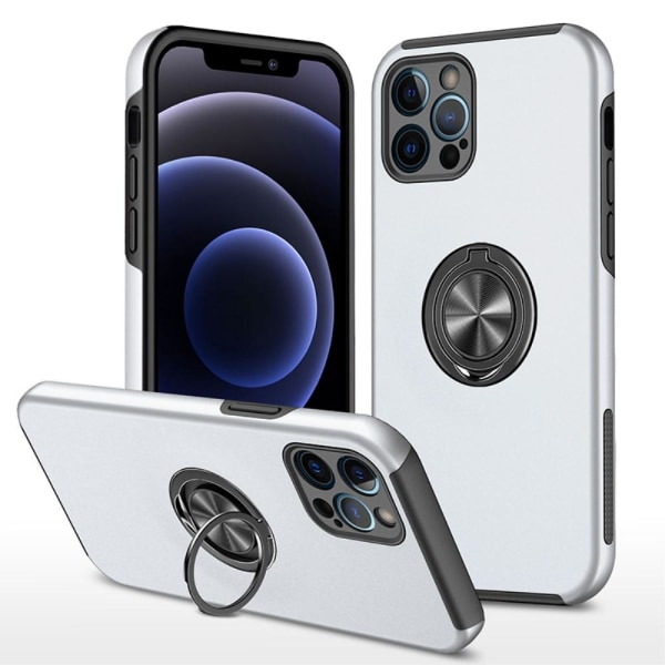 iPhone 13 Pro Finger Ring Kickstand Hybrid Case - Sølv Silver