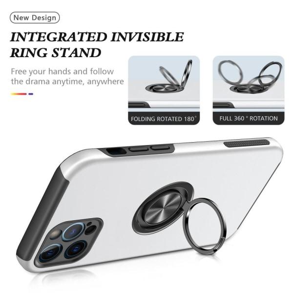iPhone 13 Finger Ring Kickstand Hybrid Case - Sølv Silver