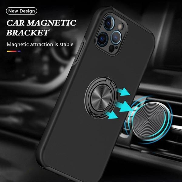 iPhone 13 Pro Max Finger Ring Kickstand Hybrid Case - Sort Black