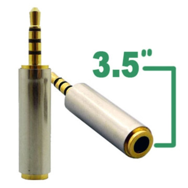 3.5 Female to 2.5 Male Audio Adapter Gold