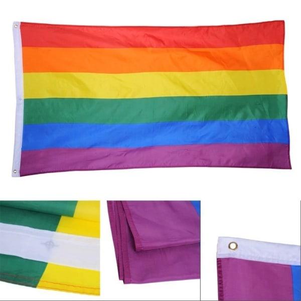90*150cm/3*5ft Rainbow flag Gay Pride Peace LGBT Polyester Flag  Black