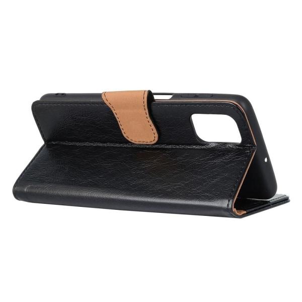 Nappa Texture Split Wallet Stand Cover for Motorola Moto G100 -  Black