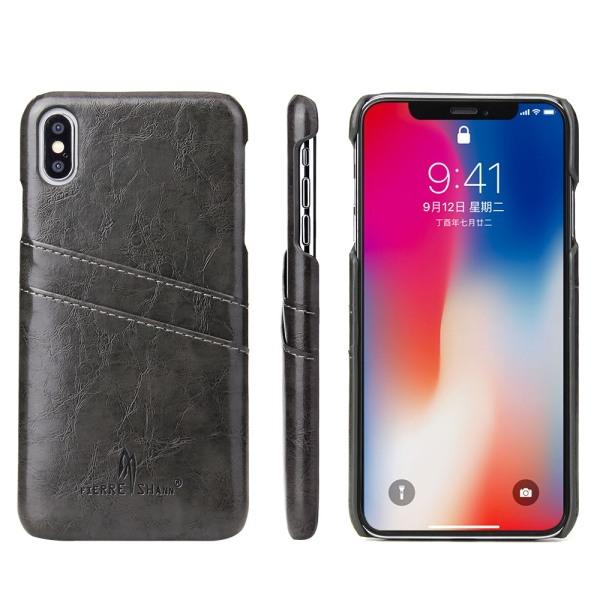 FIERRE SHANN iPhone XS Max Skal med kortplatser - Grå Black