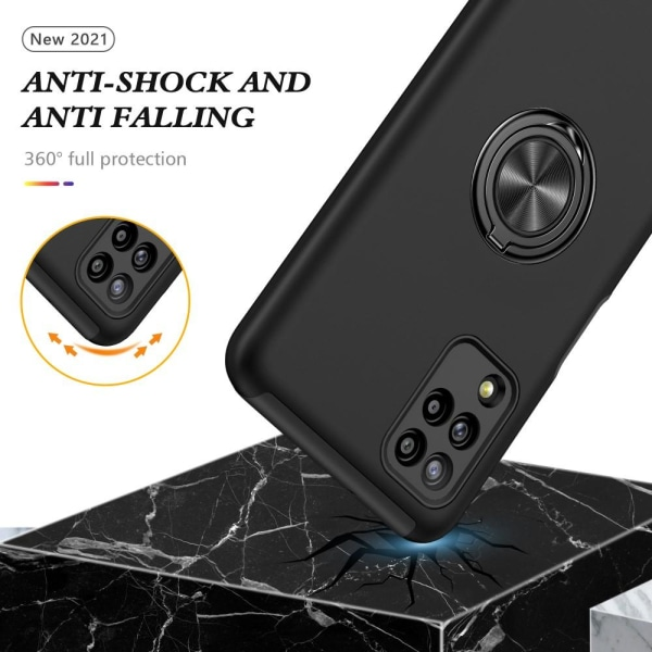 Samsung Galaxy A12 Hybrid skal med Finger Ring - Svart Svart