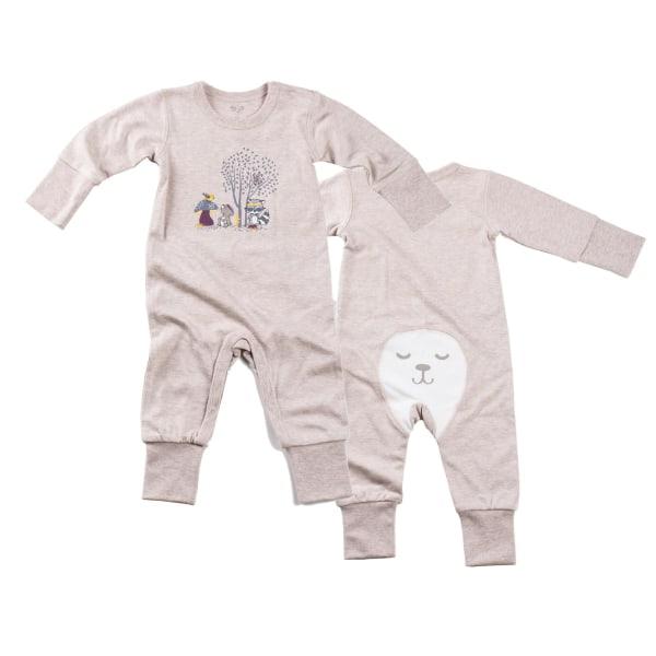 Newborn - Pyjamasoverall i bambu - Beigemelange med skogsdjur Beige 56 (1-2 månader) / Beigemelange med