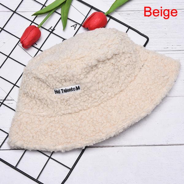 1 st lamm faux hink hatt varm sammet vinter mössor kvinnor plysch fis Beige
