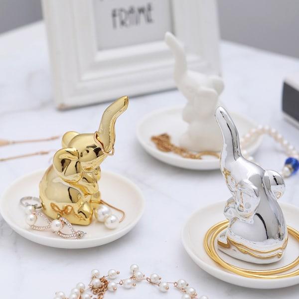 1 st skrivbord elefant ring hållare förvaring smycken rack display st Silver