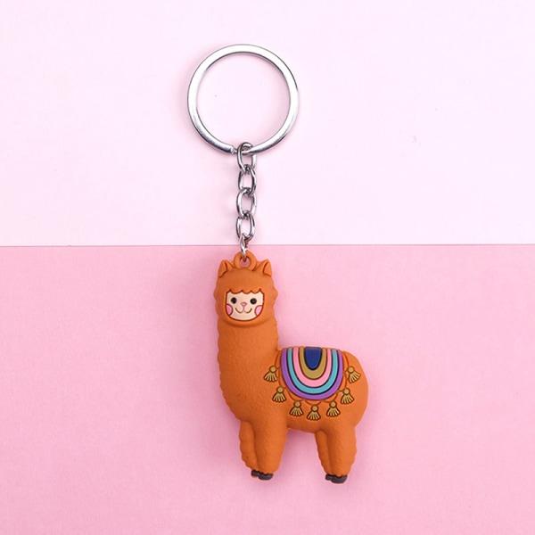 1 st tecknad alpacka nyckelring lama nyckelkedja damväska hänge al Orange