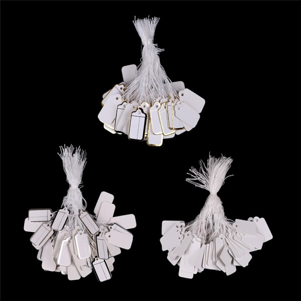 100x etiketter slips snöre prydda biljetter smycken klocka kläder White