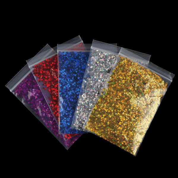 10G Laser Femspetsiga paljetter Nail Sequins Glitter Flakes