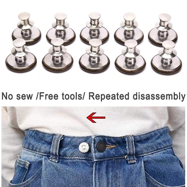 10st Pins för Jeans Instant Jean Button Pins för byxor Replacem