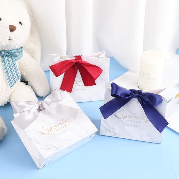 10st / uppsättning Grå marmor presentpåse godislåda för fest baby shower w
