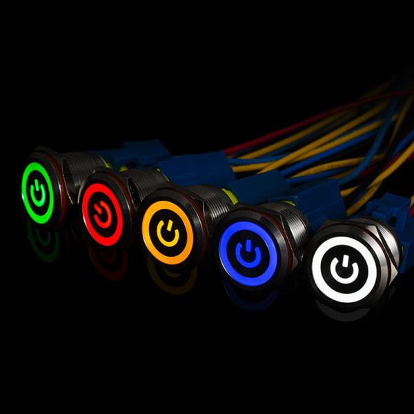 12mm 12V låsande tryckknapp Svart metall LED Power Momentary S