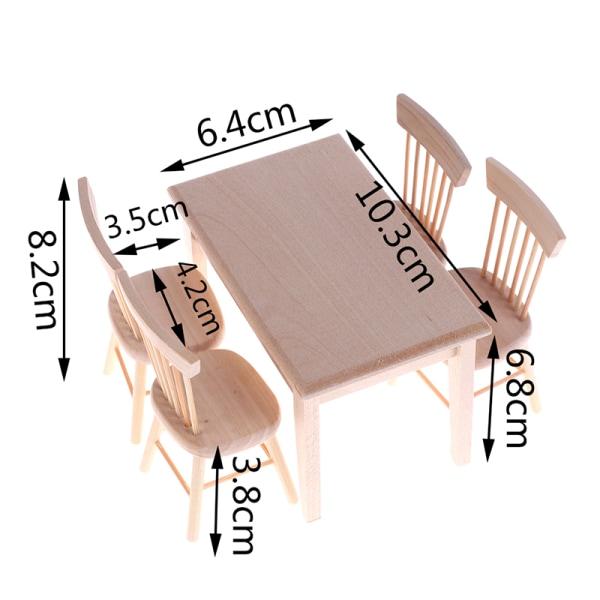 1set matbordstol modell 1:12 dockhus mini träinredning One Size