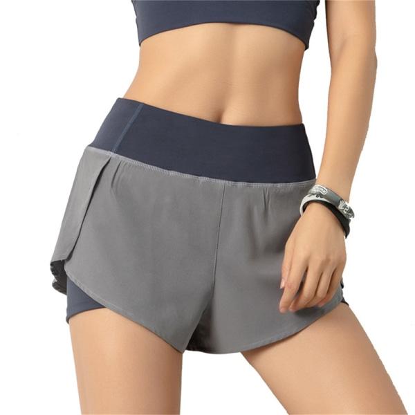 2021 damer gym dubbla shorts sidoficka löpande shorts breathab Black 3XL