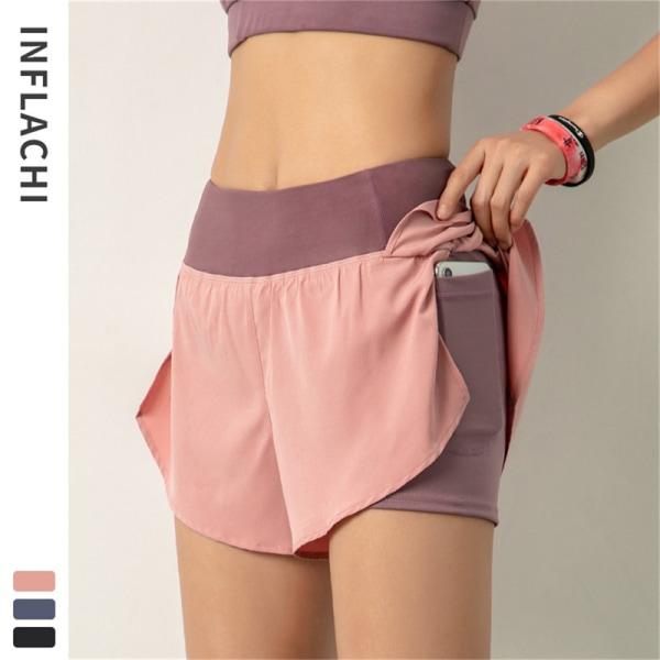 2021 damer gym dubbla shorts sidoficka löpande shorts breathab Pink 2XL