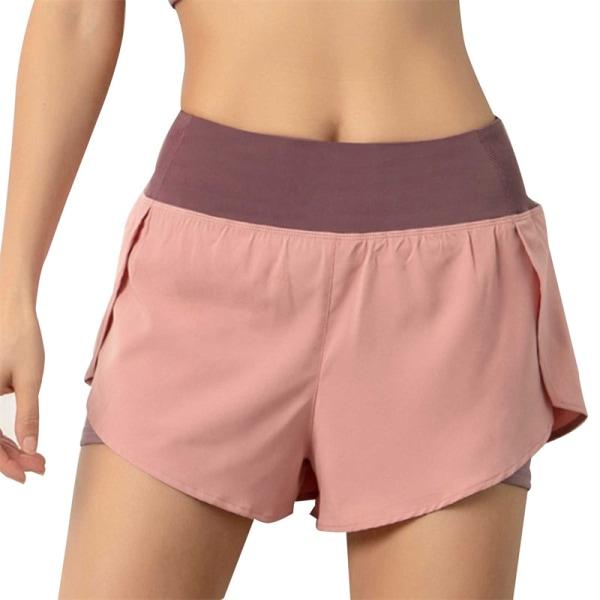 2021 damer gym dubbla shorts sidoficka löpande shorts breathab Blue L
