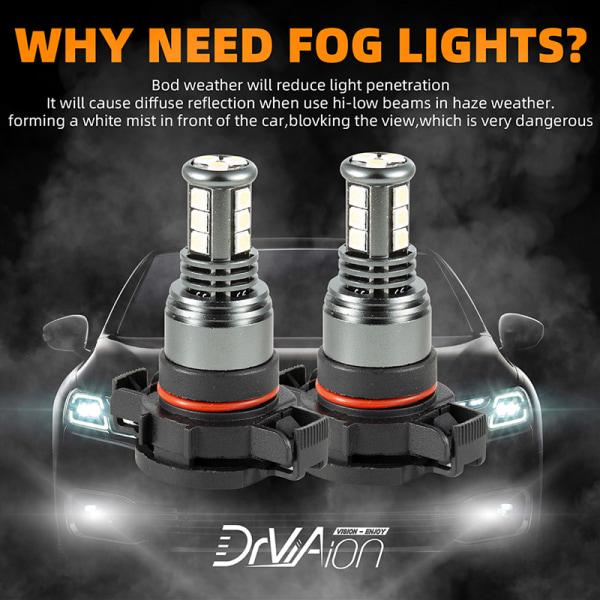 2x H16 / 5202 LED-strålkastarlampor 28W 6500K Dimljus Super Brigh