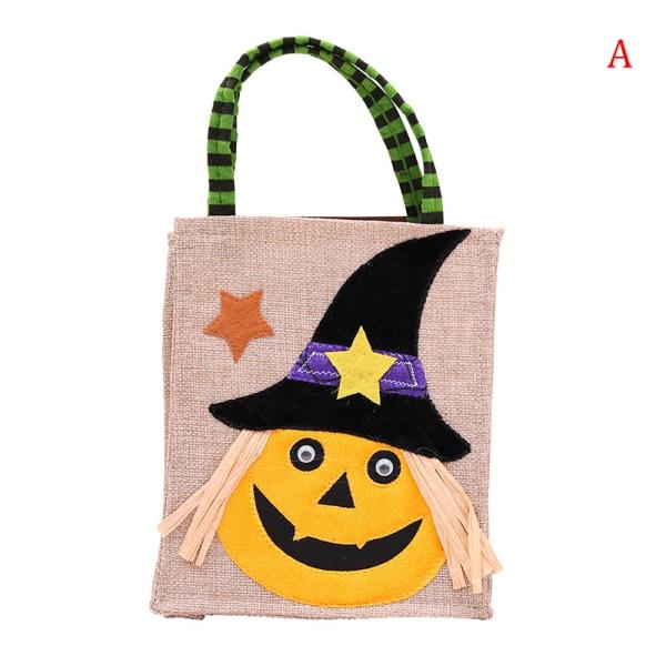 4st pumpahuvudtryckt linnepåse halloween godisförpackning ba A
