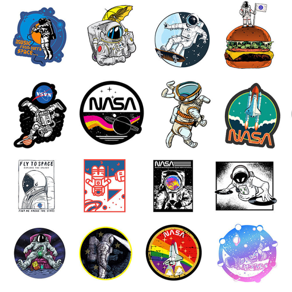 50 klistermärken Astronaut Space Station Cartoon Trolley Case Compute
